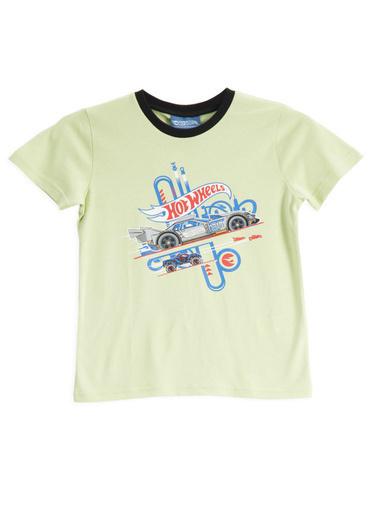 Hot Wheels  Lisanslı Yeşil Erkek Çocuk T-Shirt Sarı